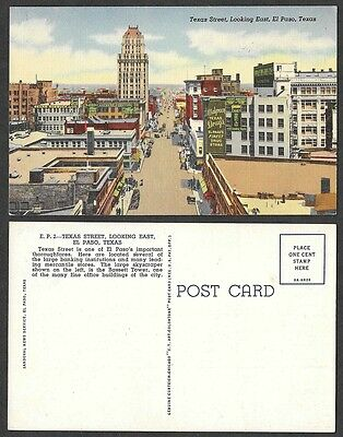 Old Texas Postcard - El Paso - Texas Street Scene Looking East