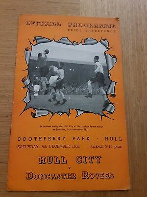 ***HULL CITY v DONCASTER ROVERS 1951/52 *SCARCE*~FREE POSTAGE***