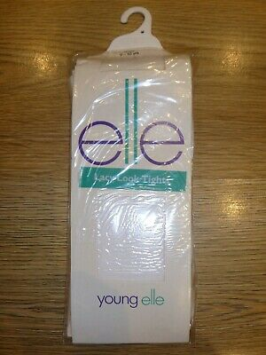 Young Elle White Lacy Look Tights Age 9-10 Years - New In Pack