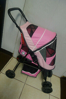 Top Paw Dog Cat Stroller Travel Carriage w Foot Brake & Canopy Pink