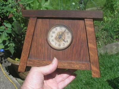 1904 Arts and Crafts Mission OAK CLOCK Gilbert Alarm Clock Handicraft Antique