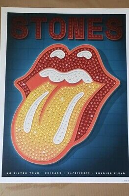 The Rolling Stones Chicago Soldier Field No Filter Tour Poster Mint Condition