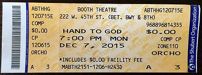 Hand To God Broadway Ticket Stub 12/7/2015 Booth Theatre - New York City