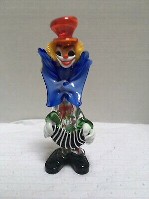 Clown playing the accordion in Murano glass