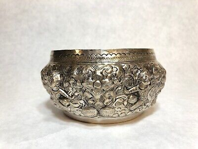 """Antique Sterling Silver Repousse Water Bowl Thailand 136 grams 5"""" Wide 2.5"""" Tall"""