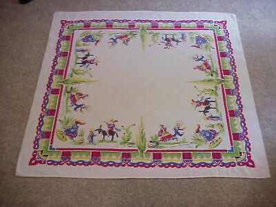 "Vintage Mexican Tablecloth  Themed  50"" X 53"" Vibrant Colors Musicians Dancers"
