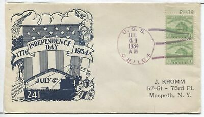 US Naval Ship Cover - USS CHILDS - 1934