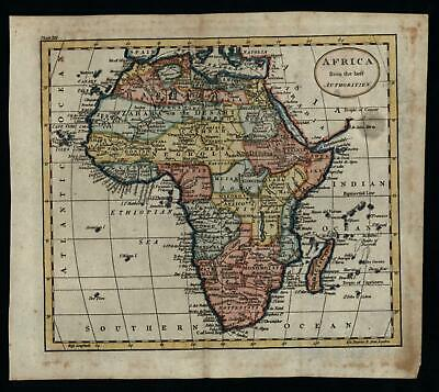 Africa Continent Man Eaters c.1790's charming map lovely hand color