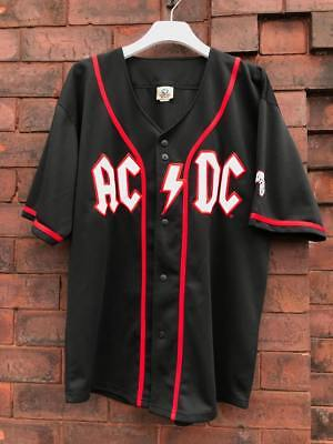 Vintage Acdc Baseball Jersey Liquid Blue Mens Rare Black Red Large L Used Tshirt