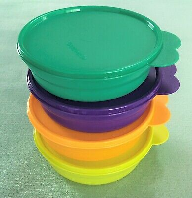 New! Set of (4) Tupperware Microwavable Cereal Bowls with Butterfly Lids