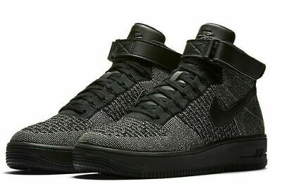 NIKE AIR FORCE 1 Ultra Flyknit Mid Black Palm Woven Mens RARE 817420 301 Sz 10