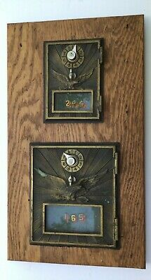 2-Vintage Authentic Post Office Letter Lock Box Doors