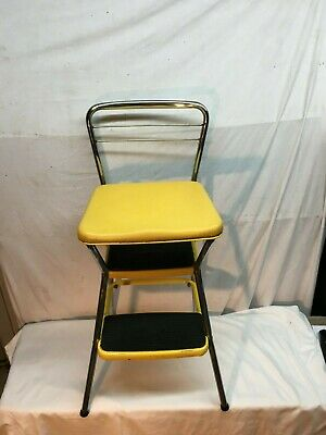 Vintage 50's rustic Cosco 3 pull out Step Stool Kitchen seat Yellow Naugahyde
