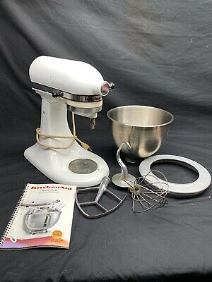 KitchenAid White Stand Mixer, K45 With Bowl Attachments Manuel