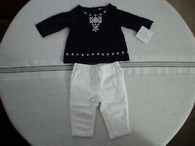 Carter/'s Baby Girl Layette 2 Piece Set Blue Top White Bottoms New Sizes NB-3Mon
