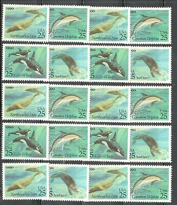 US Postage Stamps 2508-11 Sea Creatures Wholesale Lot Of 20 Singles Below Face