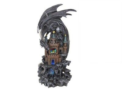Dragon On Castle With LED Light Statue Ornament 35 cm