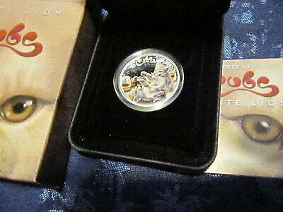 2016 - 1/2 oz SILVER AUSTRALIA PERTH MINT WHITE LION CUB COLORED PROOF COIN