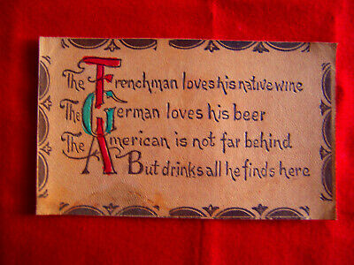 ANTIQUE LEATHER Postcard--FRENCHMAN's Wine, GERMAN's Beer, AMERICAN's Drink?