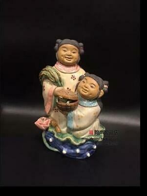 Old China Wucai Porcelain Carving HeHe Two Immortal Love Gods Lotus Statue