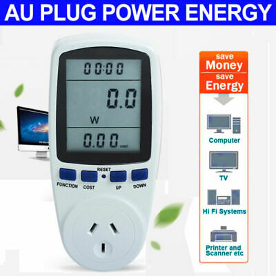 Power Meter Energy Monitor Plug-in Electric KWH Watt Volt Monitor Socket DILE rR