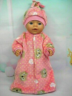 "Dolls clothes for 17"" Baby Born doll~PINK CAT MINKY FLEECY SLEEPING BAG~HAT SET"