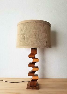 Danish Modern Sculpted Carved Wood Table Lamp Mid Century Modern Eames Era