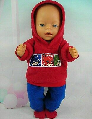 "Dolls clothes for 17"" Baby Born doll~PJ MASKS RED HOODIE~ROYAL BLUE PANTS~BOOTS~"