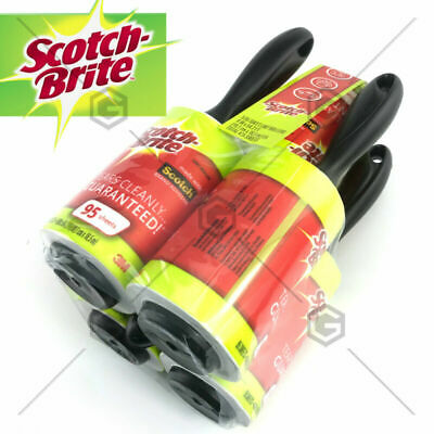 5 x 3M Scotch Brite Lint Roller AU 475 Sheets Fluff Pet Hair Dust Remover Roll