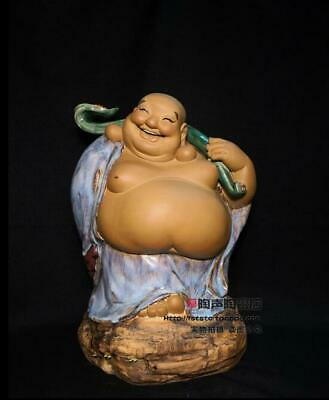 "15"" Chinese Wucai Porcelain Carving Happy Laugh Maitreya Buddha Hold Ruyi Statue"