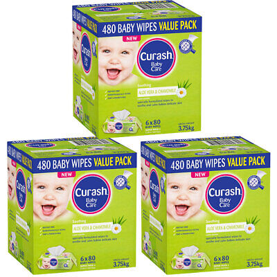 1440PK Curash Babycare Aloe Vera & Chamomile Baby Wipes Dermatologically Tested