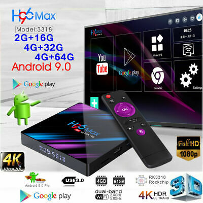 H96 Max 3318 4+64G Smart TV Box Android 9.0 WiFi Quad Core 4K 1080P Media Player