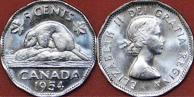 Brilliant Uncirculated 1954 Canada 5 Cents From Mint's Roll