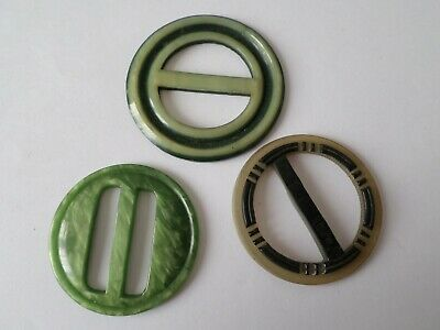 3 vintage circa Art Deco or later belt buckles possibly Bakelite or Celluloid