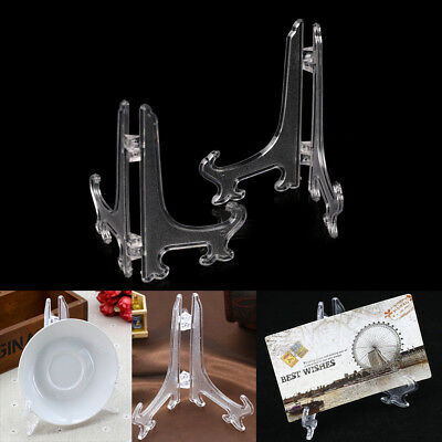 """2X 5""""9""""11"""" Clear Plastic Plate Photo Display Stand Picture Frame Easel Holder#Y"""