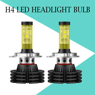 Dual Color 2X H4 9003 LED Headlight Bulb Hi/Low Beam 1800W 300000LM White& Amber