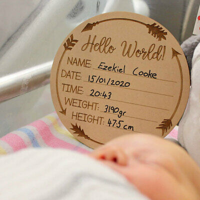 Hello World Baby Birth Announcement Discs Baby Shower Gift New Baby Wood
