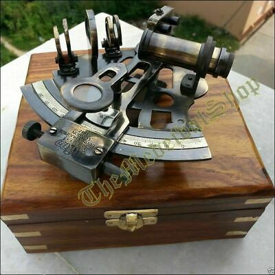 Maritime Antique Brass Sextant Nautical Astrolabe WORKING Wood Box Collectible