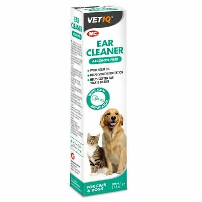 VETIQ Ear Cleaner for Cats & Dogs 100ml Ear Solution Neem Oil Soothes Irritation