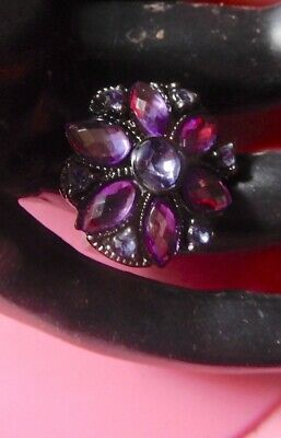 Ring Estate Rhinestone Vintage Costume Big flower- -2 post FREE