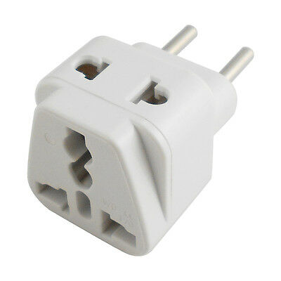 UK USA AU to EU Euro Plug Travel Adapter AC Power Socket Converter Charger White