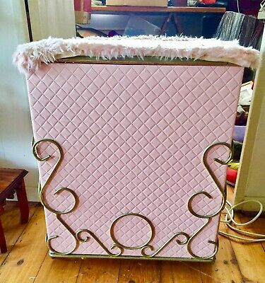 1950's Bedroom Clothes Hamper Pink Quilted With Metal Scrolls