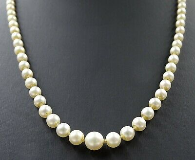 Vintage Authentic MIKIMOTO Pearl Strand Necklace with Silver Pearl Clasp