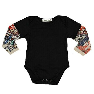 Newborn Fake Tattoo Sleeve Baby Boy Romper Cotton Clothes Infant Jumpsuit Outfit