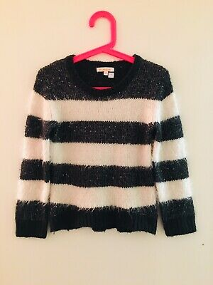 Black & White Fluffy Striped Blue Zoo Jumper Age 5-6 Years (2163)
