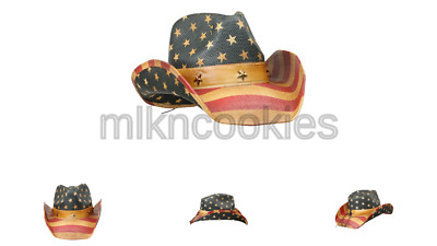 Men's Vintage Tea-Stained USA American Flag Cowboy Hat w/ Western Shape-It Brim