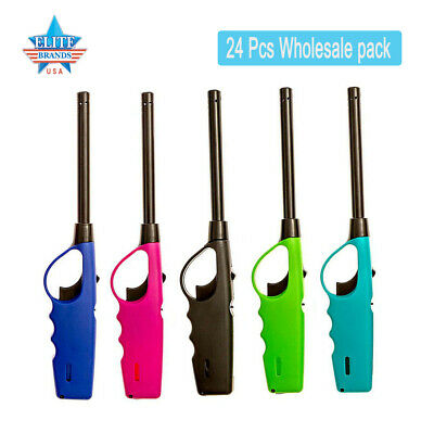 24 Pack Long Lighters Fireplace Grill Stove BBQ Neon Fire Lighter Wholesale Pack