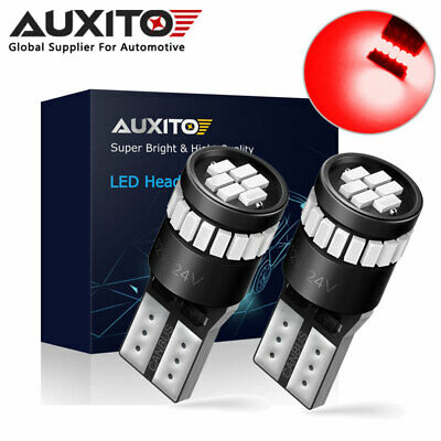 2X AUXITO T10 194 168 W5W RED LED Interior License Number Plate Side Light Bulbs