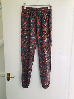 Purple Orange Green Floral Next Summer Trousers Age 11 Years (2178) 10/11 11/12
