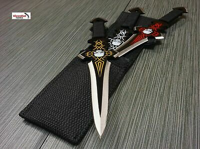 "NEW 3PC 9"" Tactical Ninja Skull Combat Naruto Kunai CROSS Throwing Knife Set"